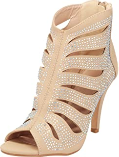 dce702e0f2b9 Cambridge Select Women's Glitter Crystal Rhinestone Open Toe Cutout Caged  Stiletto High Heel Ankle Bootie