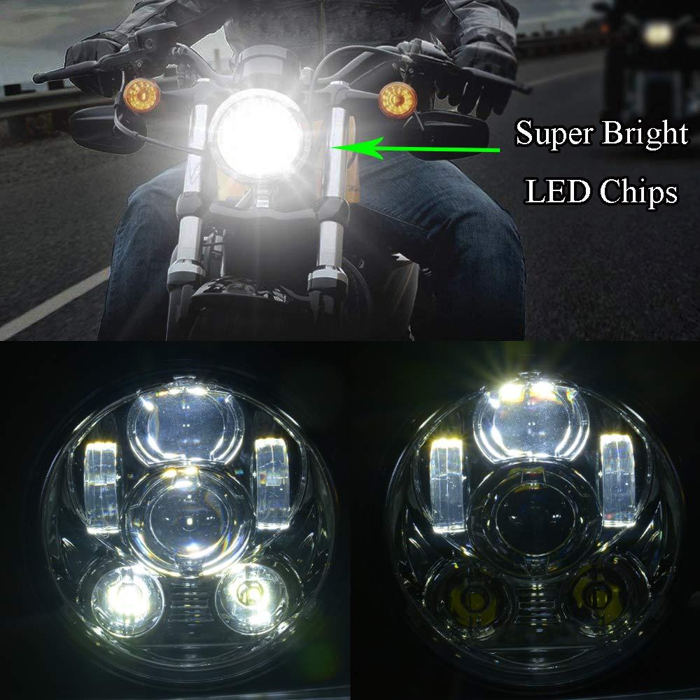 5-3//4 5.75 inch LED Headlight for Harley Davidson 883 Sportster Iron Dyna Street Bob Motorcycle Driving Light black