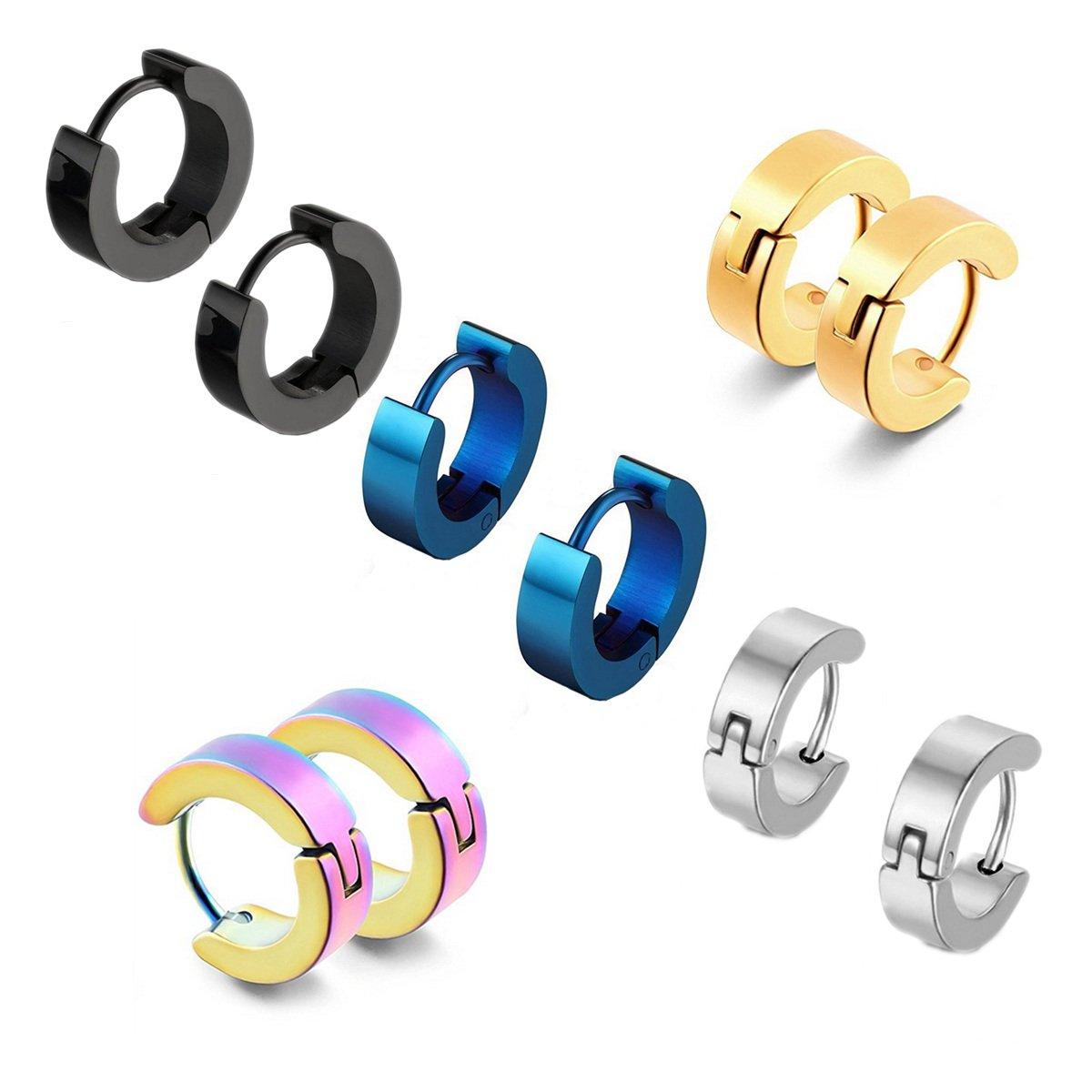 5 Pairs Stainless Steel Hinged Hoop Earrings Huggie Earrings Small