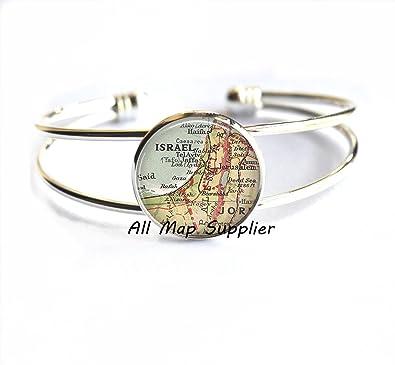 Charming Bracelet,Israel map Bracelets Israel Bracelets Israel map Bracelet,/A0297 Israel map jewelry