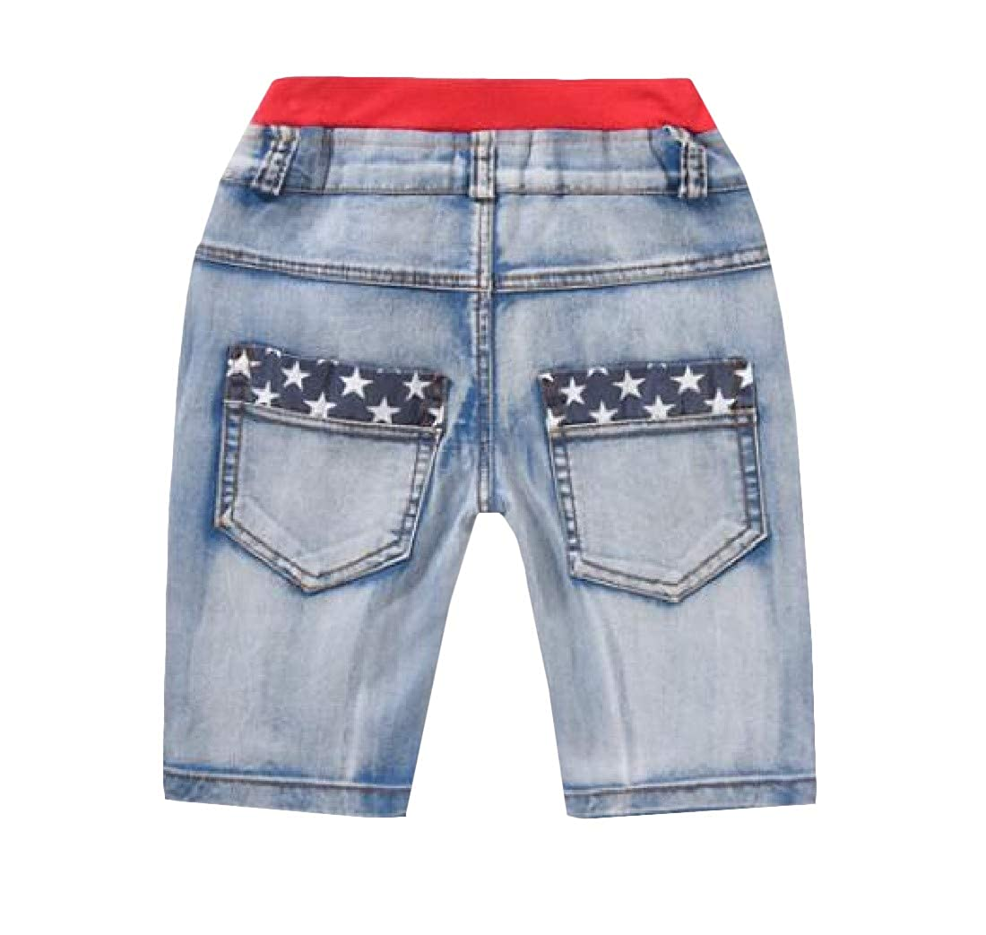 Easonp Boys Cute Jean Denim Hole Pattern Print Shorts