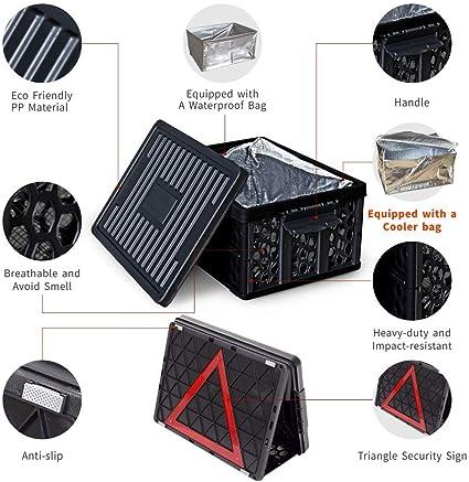 Amazon.es: Organizador y caja de almacenamiento para maletero de coche con tapa, bolsa refrigeradora y bolsa impermeable plegable para coches, garajes, hogar o jardín y adctividades al aire libre, color negro