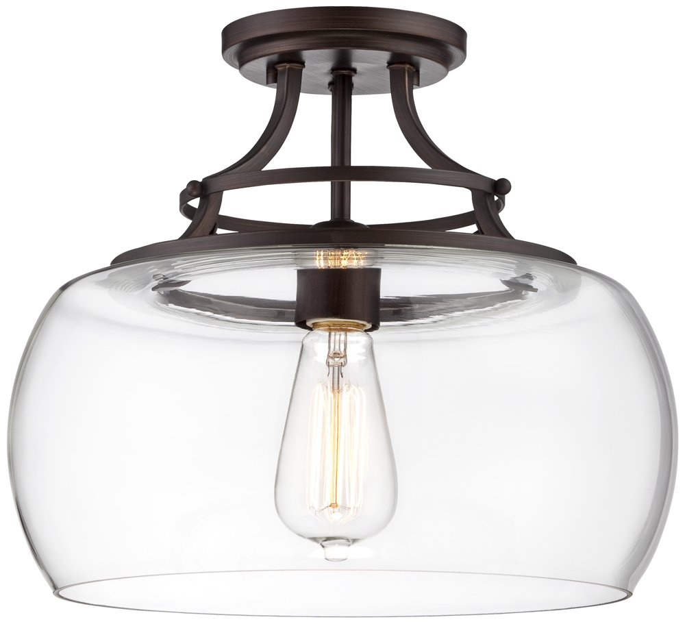 Charleston Bronze 13 1/2'' Wide Clear Glass LED Ceiling Light by Franklin Iron Works