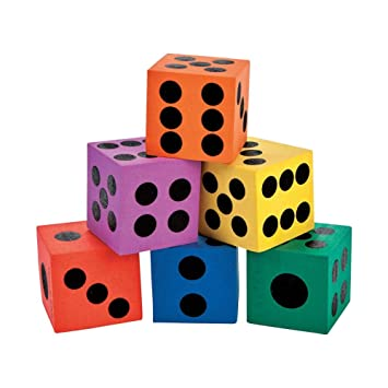 Fun Express 12 Pack of Big Foam Playing Dice