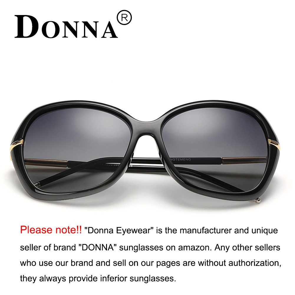 ffd9e018f5b Amazon.com  DONNA Women s Classic Oversized Polarized Sunglasses Super Big  Circle Shades Ultralight D72(Black)  Clothing