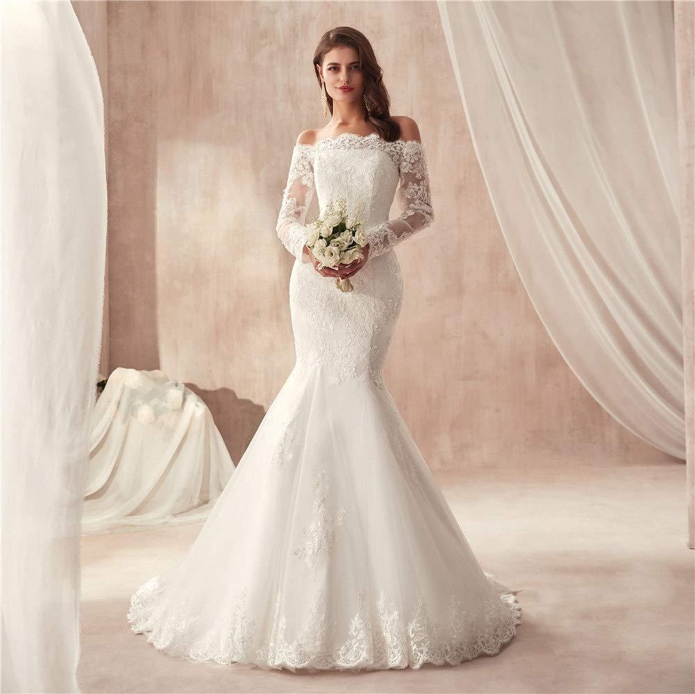 92d4e67dde9a 2019 Lace Mermaid Wedding Dresses Applique Beaded Long Sleeve Bridal Gowns  Formal