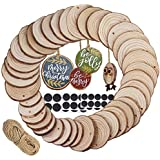 Supla 40 Pcs 3 Size Round WoodSlices with Hole Natural PineWood Slices Bulk Unfinished WoodDécor Hanging WoodSign for Painting Graffiti Art DIY Crafts Christmas Ornaments Rustic Wedding Name Tags