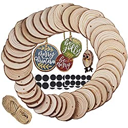 Supla 40 Pcs 3 Size Round Wood Slices with Hole Natural Pine Wood Slices Bulk Unfinished Wood Décor Hanging Wood Sign for Painting Graffiti Art DIY Crafts Christmas Ornaments Rustic Wedding Name Tags
