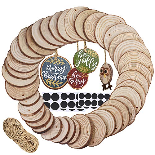 Supla 40 Pcs 3 Size Round Wood Slices with Hole Natural Pine Wood Slices Bulk Unfinished Wood Décor Hanging Wood Sign for Painting Graffiti Art DIY Crafts Christmas Ornaments Rustic Wedding Name Tags]()
