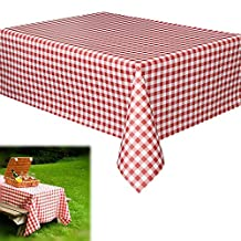 """Vinyl Tablecloth - Rectangular Red and White Checkered Gingham Print Table Cloth Runner for Holiday and Party Events   Beach   Camping   Wedding   Birthday - L108"""" x W55"""""""