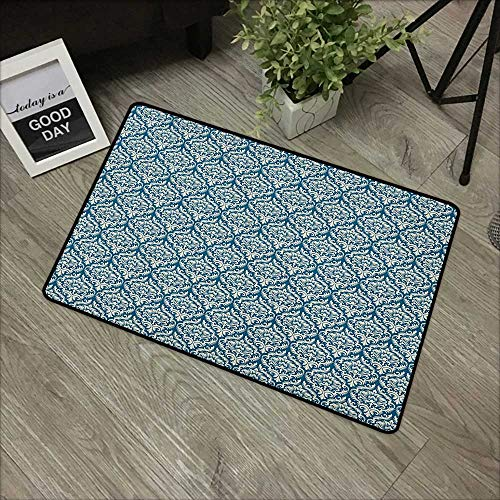 Bathroom anti-slip door mat W35 x L47 INCH Victorian,Fashionable Modern Country Style Abstract Illustrated Antiquity Vintage, Navy Blue Cream Our bottom is non-slip and will not let the baby slip,Door ()