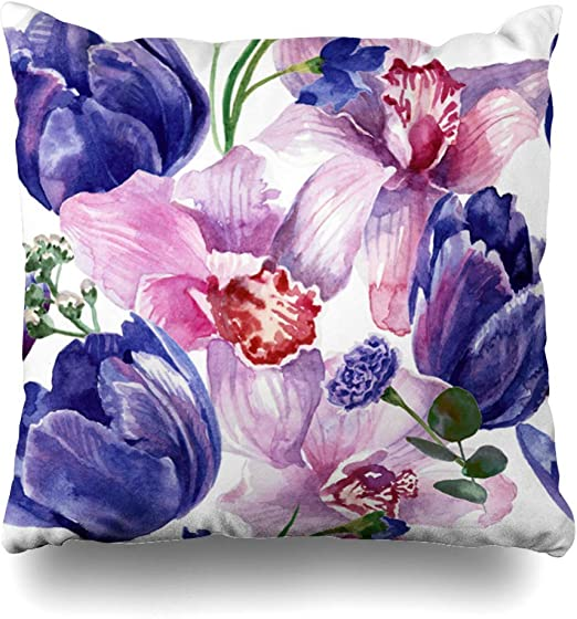 Fiori Watercolor.Amazon Com Nbtjzt Orchids Blue Abstract Floral Pattern Tulips