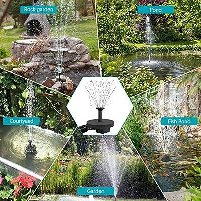 Solar Fuente Bomba, 2W Fuente de Jardín Solar, Bomba de Agua para Fuente Flotante Solar con 6 boquillas Ideal, Kit de Fuente Sumergible para Pequeño Estanque, Baño de Aves, Decoración del Jardín: