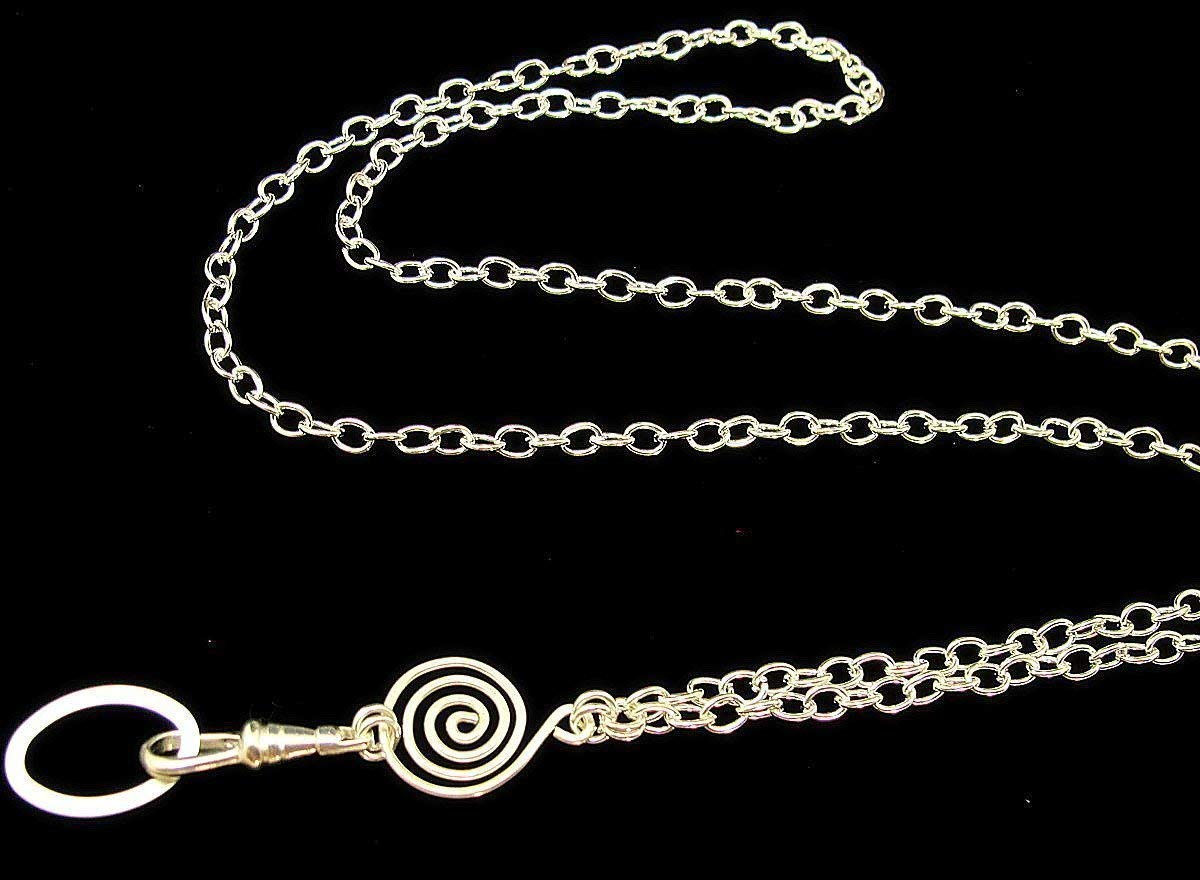 Women's Fashion ID Badge Lanyard Necklace with Handcrafted Spiral on a Silver Chain (breakaway clasp available)