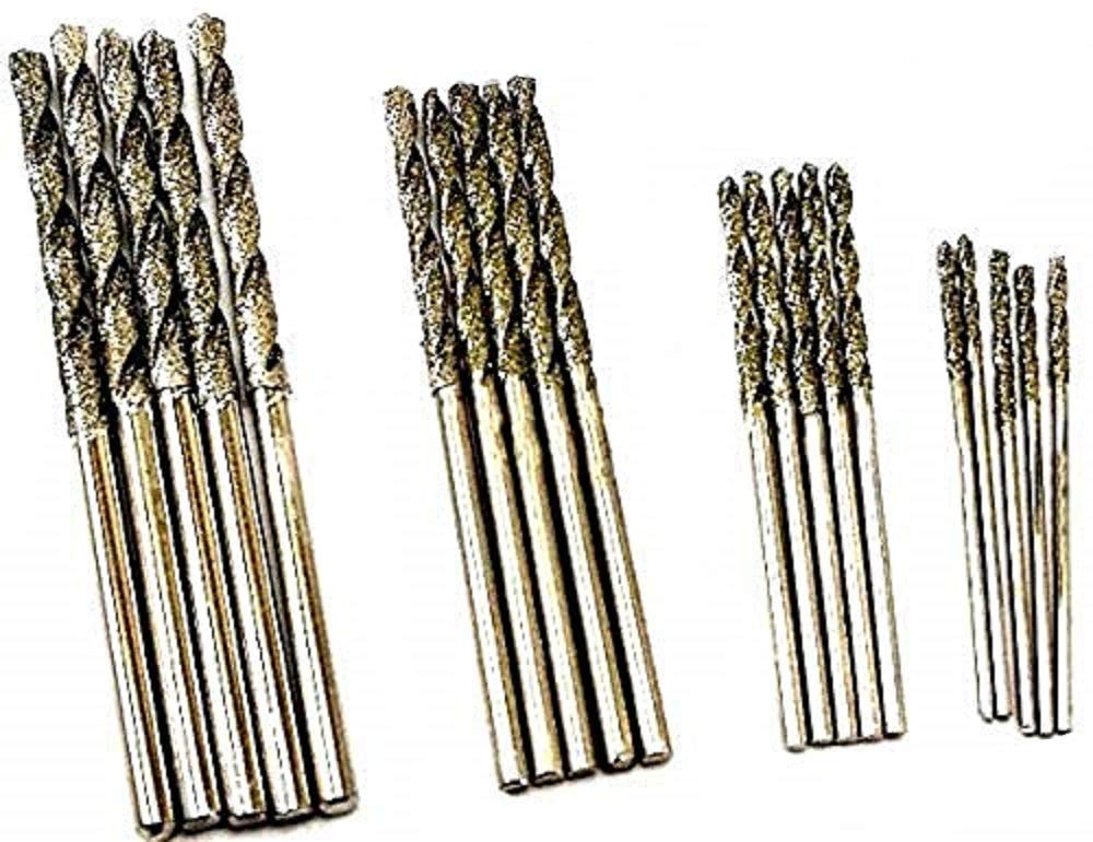 Assorted Pack of 20pcs. 4 Sizes 1mm 1.5mm 2mm 2.5mm Diamond Twist Drill Bit Jewelry Beach Sea Glass Shells Gemstones Lapidary