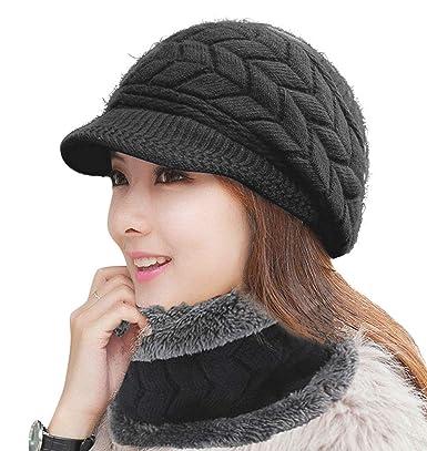 e8755486271 HINDAWI Black Winter Scarf Hat For Women Visor Caps Infinity Scarves Knit  Warm Ski Snow Hats  Amazon.co.uk  Clothing