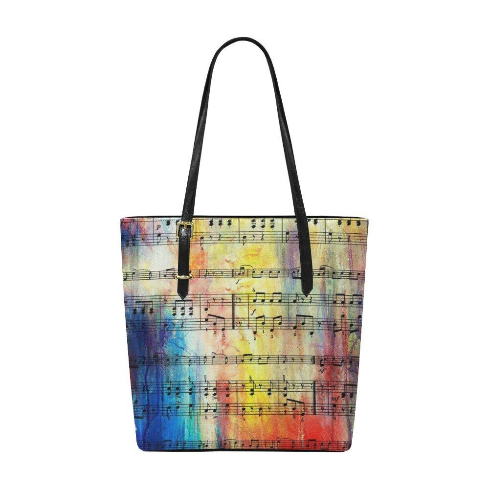 InterestPrint Music Notes PU Leather Tote Bag Shoulder Handbag for Women Girls