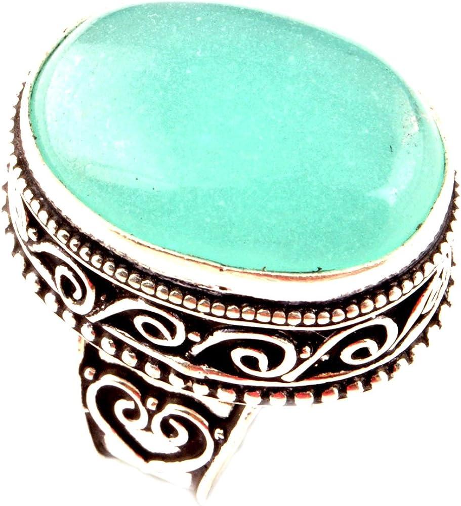 Anillo indio artesanal hecho a mano con piedra preciosa de calcedonia natural de plata 925 con superposición de anillo de Reino Unido talla P Q para mujer