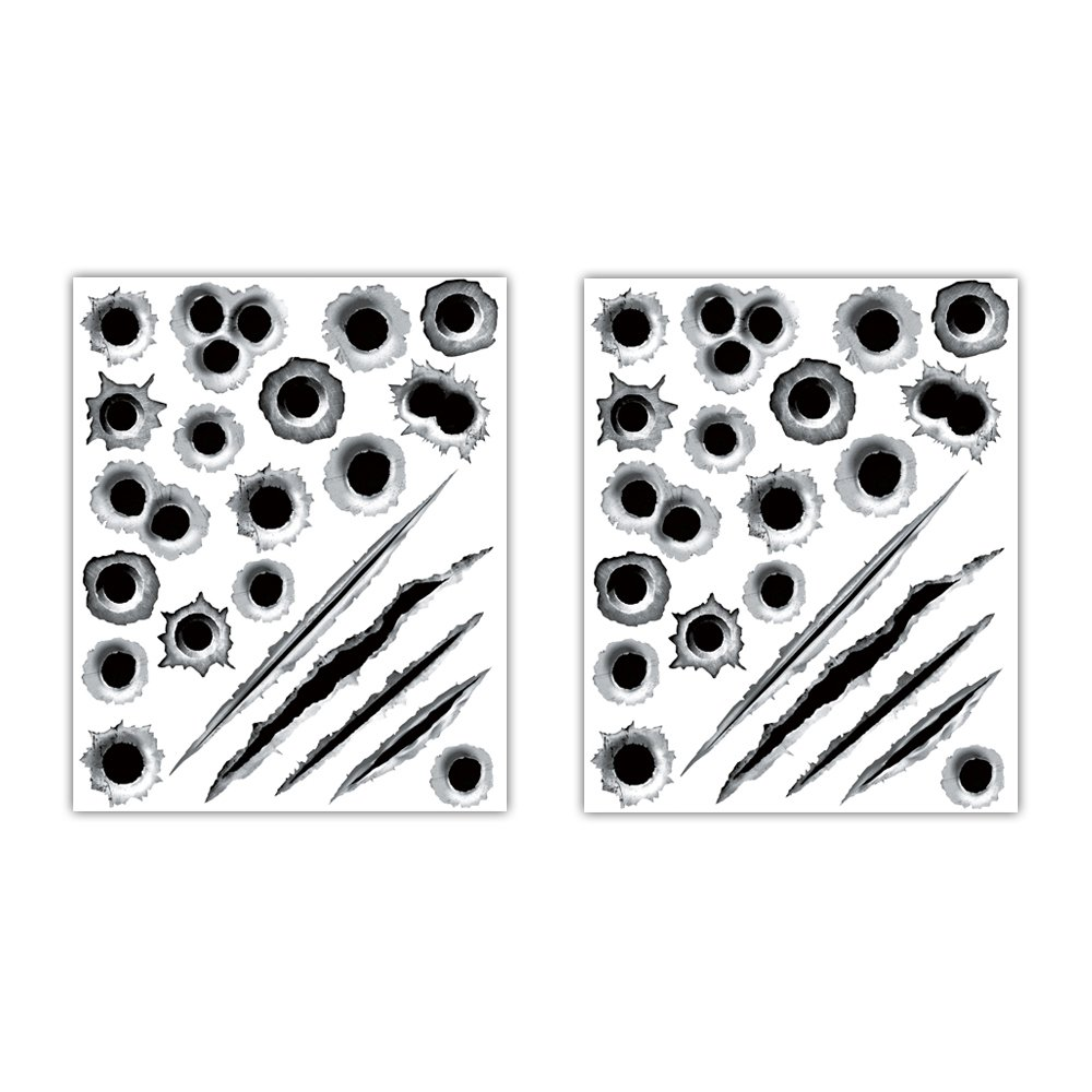 1797 Car Stickers Decals Bullet Holes 3D Sticker Scars Scratches Car Accessories Decoration Waterproof Trucks Vehicle Fade Funny Horrifying Front Rear 11.4''x9'' Pack of 2
