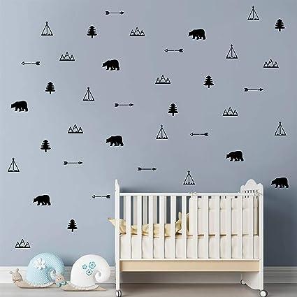 Mountains,Tree,Bear Scandinavian Woodland Vinyl Wall Stickers Home Nursery Decor