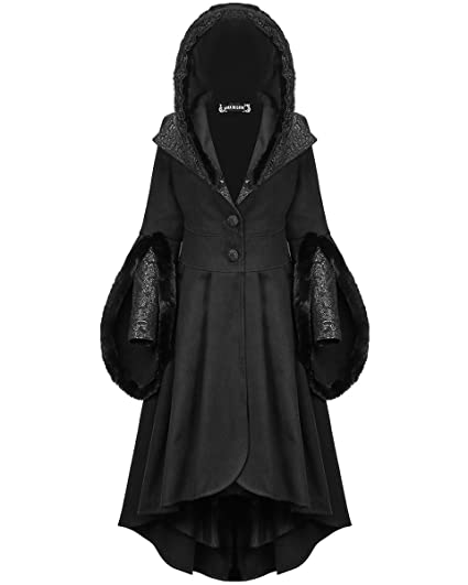 Dark In Love Womens Gothic Jacket Black Velvet Raven Feather Steampunk VTG Cape