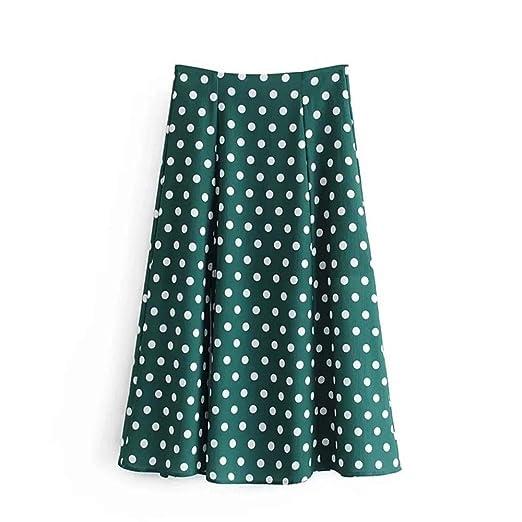 Falda de verano mujer Falda de mujer Polka Dot Impreso Verde ...