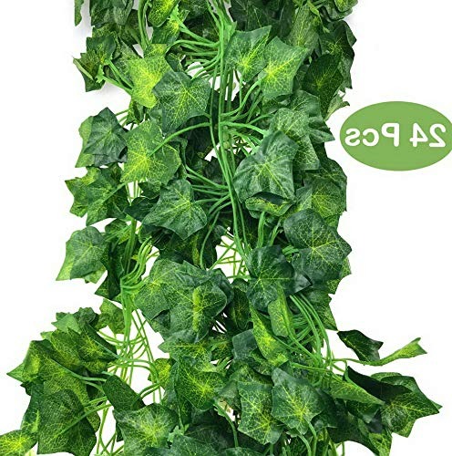 Mikash 160 Feet Artificial Greenery Fake Ivy Leaves Garland Hanging for Wedding Party Garden Wall Tion (24pcs)   160 Ft 24Pcs   Model WDDNG - 2428
