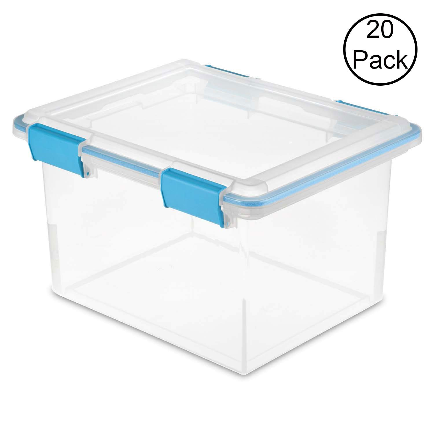 STERILITE 19334304 Clear 32 Quart Gasket Box with Clear Base and Lid (20 Pack)