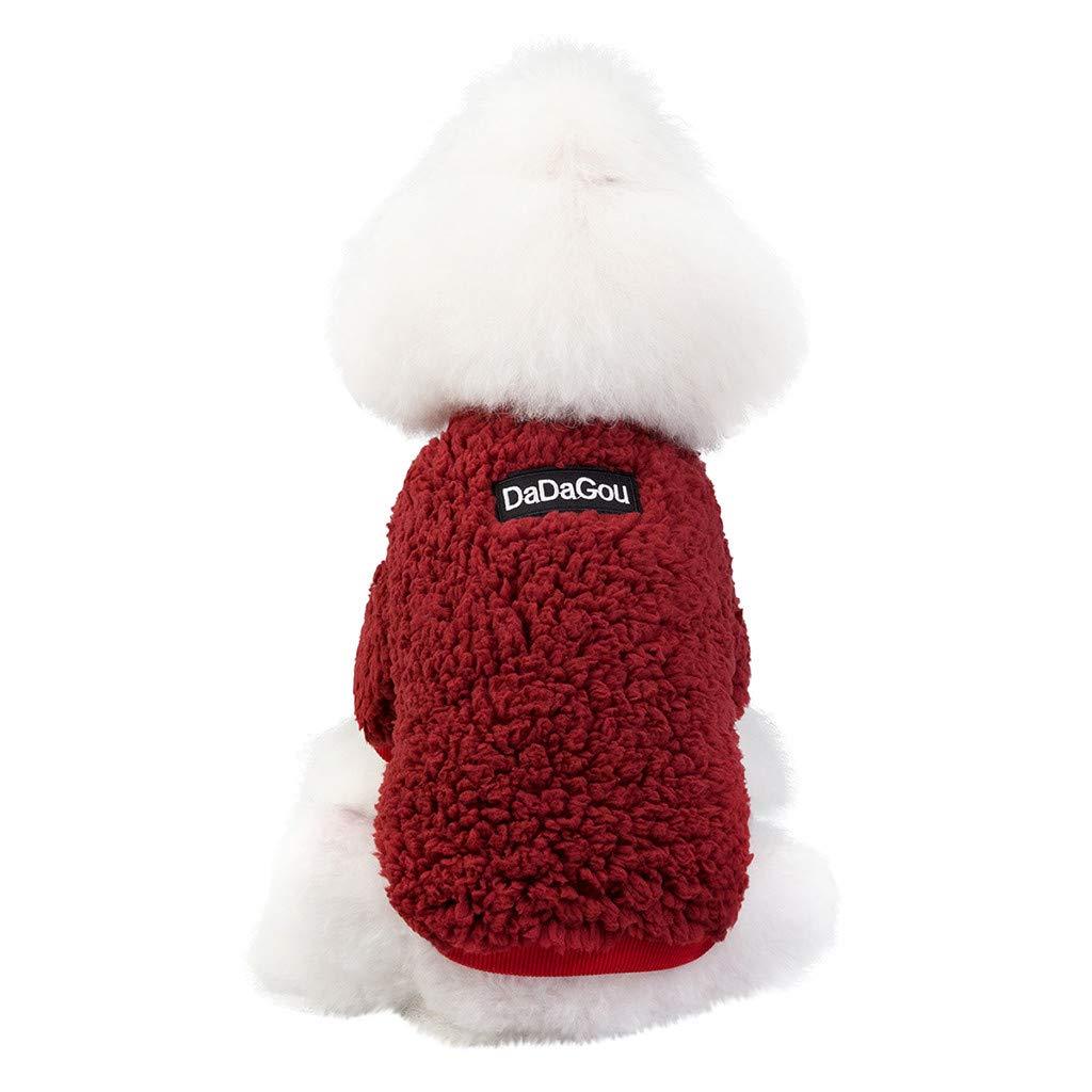 SMesoon Su/éter de Color Liso para Mascotas Moda de Oto/ño e Invierno Mant/én Abrigada Ropa para Perros y Gatos M, Rosado