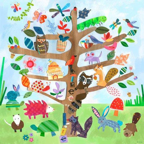 Oopsy Daisy Canvas Wall Art Tree of Life Critters by Jill McDonald 14 by 14-Inch NB20572
