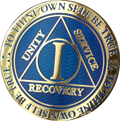 RecoveryChip 1 Year AA Medallion Reflex Blue Gold Plated Alcoholics Anonymous Chip