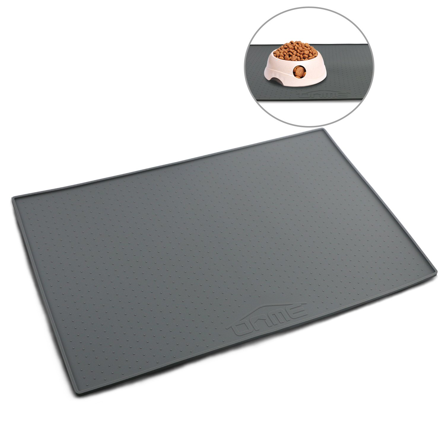 ONME Dog Feeding Mat, FDA Grade Silicone Waterproof Pet Food Mat, Non Slip Dog Bowl Placemat [ 18.5 11.8 in & 23.615.7in ]