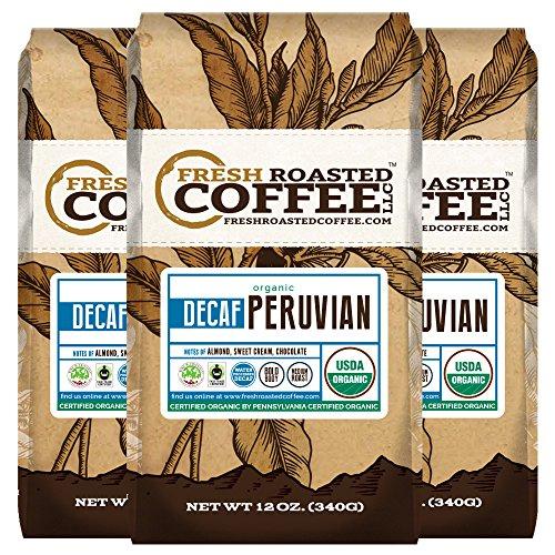 Organic Peruvian Water Processed Decaf Coffee, 12 oz. Ground Bags, Bird Friendly, Fair Trade, Fresh Roasted Coffee LLC. (3 Pack)