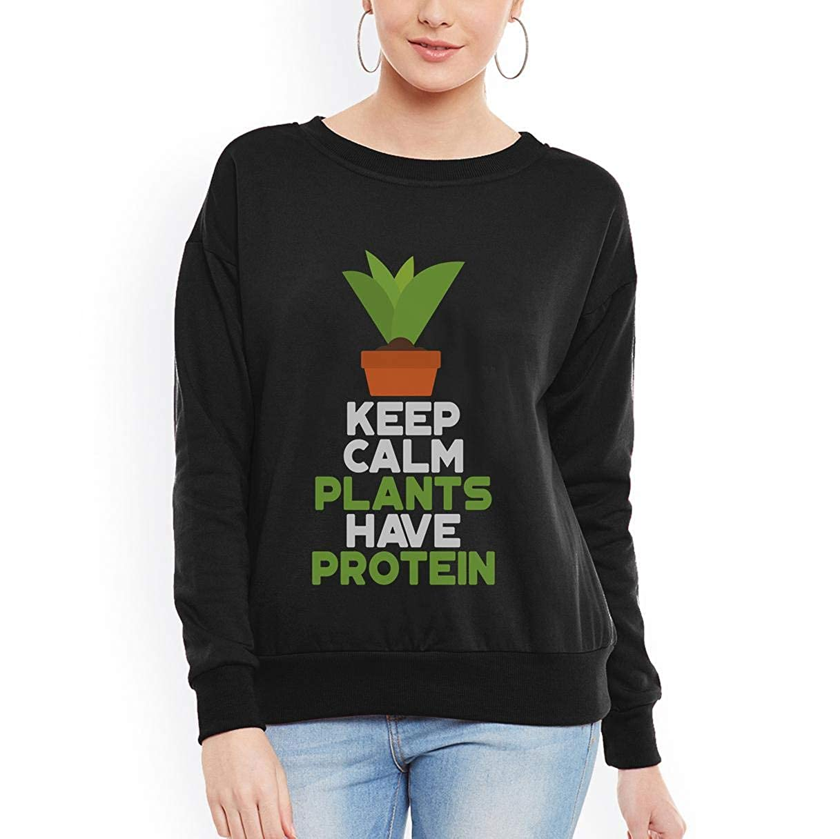 tee Doryti Keep Calm Plants Have Protein Funny Vegan Vegetarian Women Sweatshirt