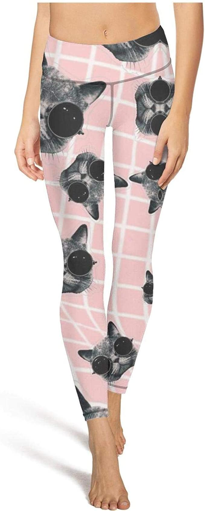 TONGZIRT Leggings de Cintura Alta para Mujer con Caras de Gato, Pantalones de Yoga, cómodos para Correr - - Small: Amazon.es: Ropa y accesorios