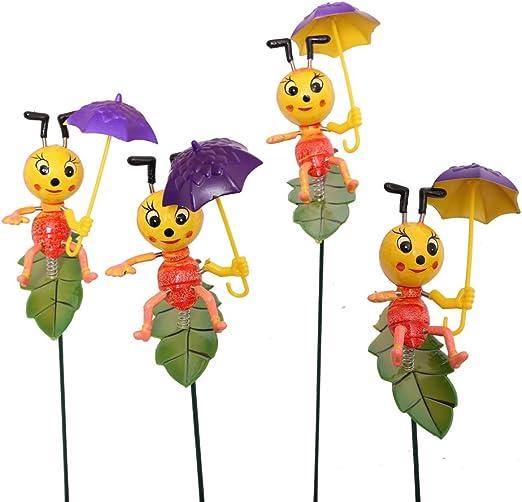 Generic Jardín Suministros (4 unidades) Cute Cartoon hormigas de plástico con morado paraguas en Patio: Amazon.es: Jardín