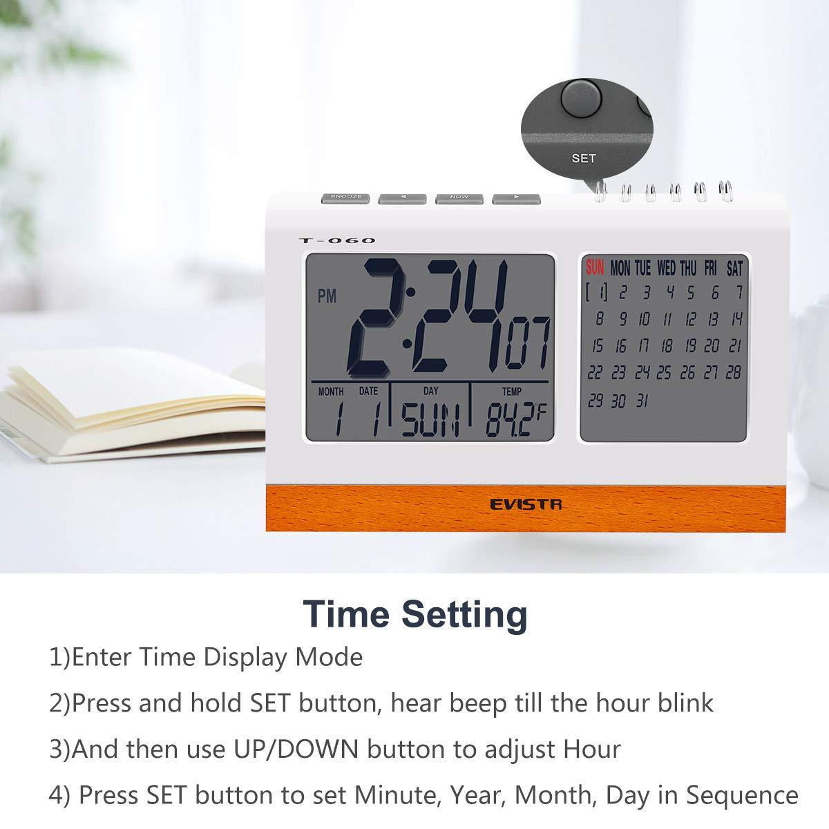 EVISTR Digital Clock Large Display - Desk Clock Battery Operated Alarm Clock with Calendar, Date, Temperature for Office