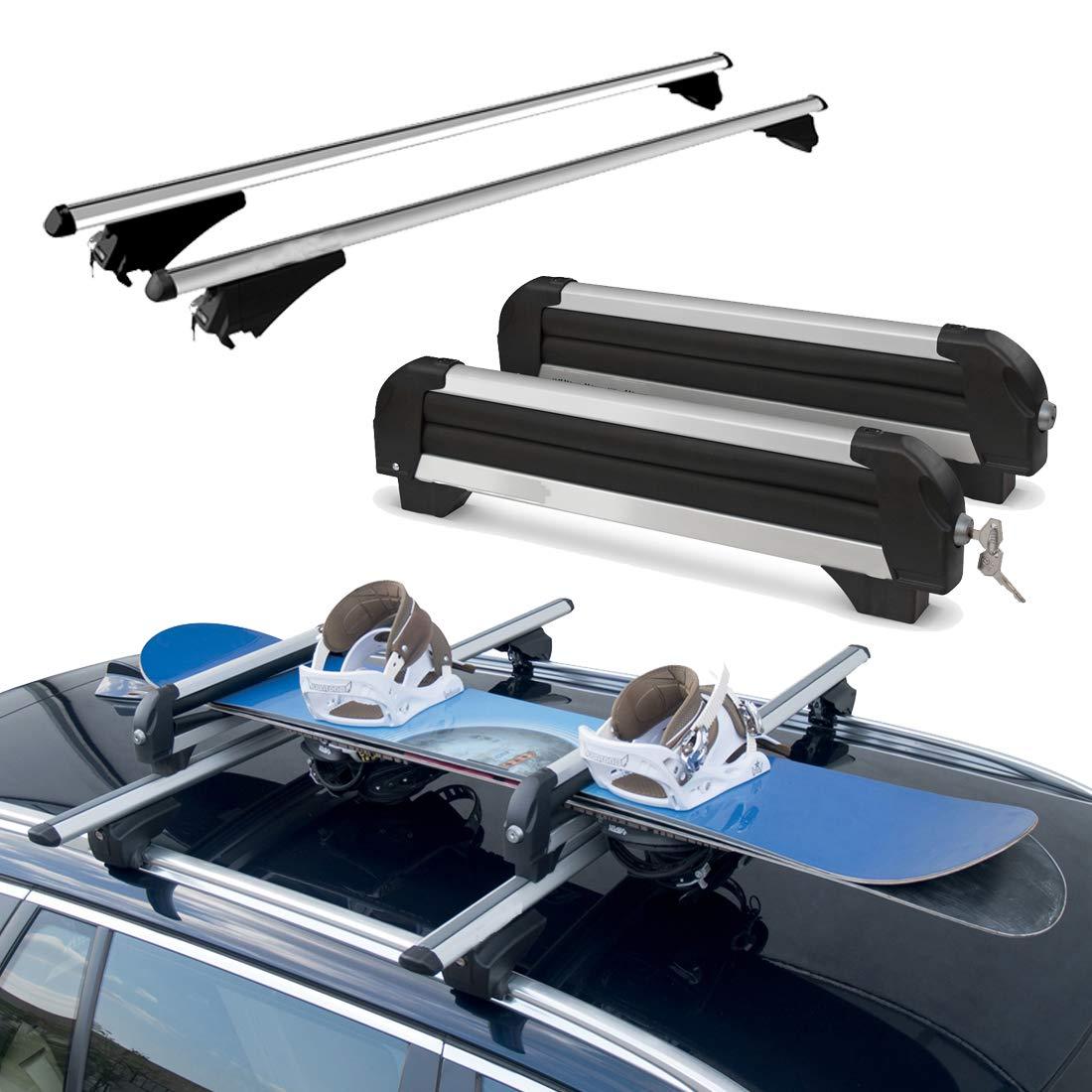 Dachtr/äger f/ür Fahrzeuge mit Rails integrierte mit Skitr/äger 4 Paar Tiger XL Dachtr/äger Aluminium