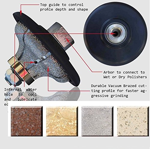 F20 (3/4'') Ogee Bullnose 20mm Diamond masonry Profiling wheel router bits for granite marble concrete quartz travertine stone countertop edge bullnose shaping works with polisher grinder