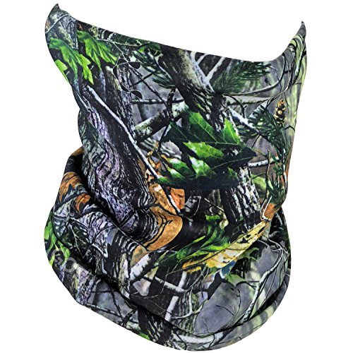 Fishing Mask Camo Headwear - Works as Fishing Sun Mask, Face Shield, Neck Gaiter, Headband, Bandana, Balaclava - Multifunctional Breathable Seamless Microfiber (Camo Forest 01) Camouflage Balaclava