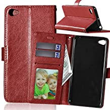 Lenovo S90 case, solid color pattern wallet style case magnetic design flip folio PU Leather cover standup cover case for Lenovo S90 ( Color : Brown-Lenovo S90 )