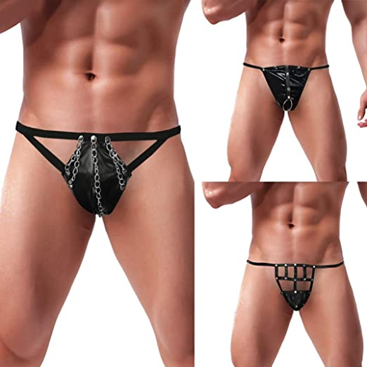 95962f61f Makaor Mens Elastic G-String Underpants Artificial Leather Lingerie Sexy  Briefs Bodysuit (A