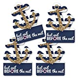Big Dot of Happiness Last Sail Before the Veil - Anchor Shaped Decorations DIY Nautical Bridal Shower and Bachelorette Party Essentials - Set of 20