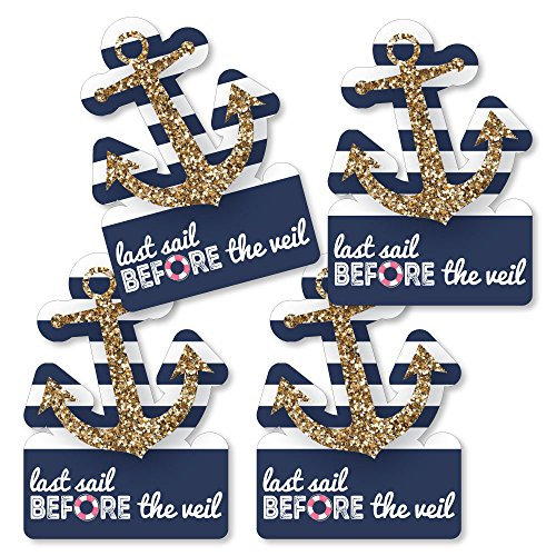 Last Sail Before The Veil - Anchor Shaped Decorations DIY Nautical Bridal Shower & Bachelorette Party Essentials - Set of 20