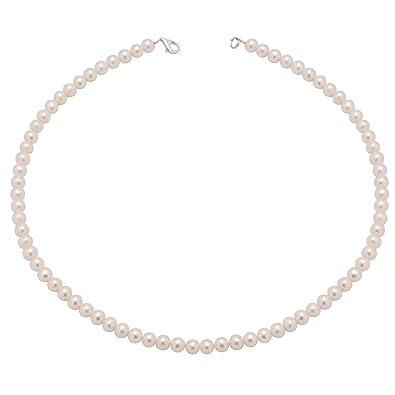 Brautschmuck kette dezent  Perlenkette Kette Collier echte Perlen creme-weiß klassisch ...