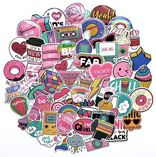 Cute Girl Laptop Stickers, Cartoon Waterproof Vinyl Sticker for Water Bottle Computer Notebook Car Skateboard Motorcycle Bicycle Luggage Guitar Bike Decal 60 Pack (Style - A)]()