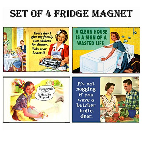 - REFRIGERATOR MAGNET Set of 4 House Work Retro Funny Fridge Magnets - 003