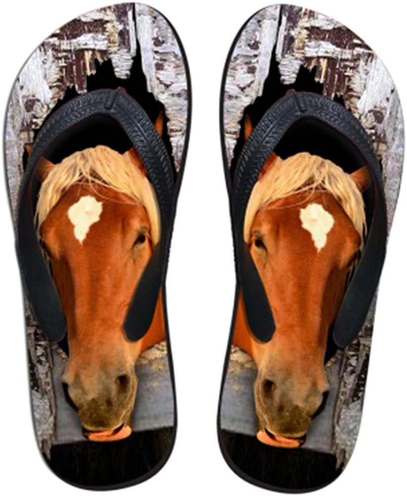 Sannovo 3D Crazy Animal Horse Print Summer Boy Slipper Rubber House Flip Flops