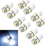 Sannysis® 10 pc T10 Wedge 5-SMD 5050 Bombillas Xenon LED Blanco