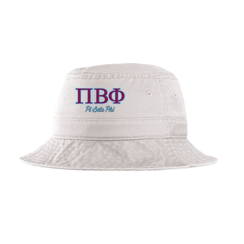 Greekgear Women's Pi Beta Phi Script Bucket Hat White by Greekgear (Image #1)